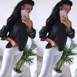 2019 off ombro manga longa top blusa Mulheres Verão Retro Dot Off Ombro Tops Camisa Manga Longa Mulheres Ruffle Blusa off ombro manga longa top blusa barato