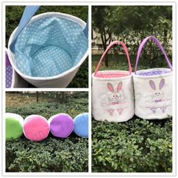 Sacchetti di benna della tela di grandi dimensioni online-Pasqua fai da te secchiello cestino modello di coniglio stampa di grande capacità di archiviazione borsa impermeabile borsa di pasqua bambini bambini borse di tela tote nuovo