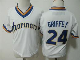 Grüne ken online-Kleinkind Ken Griffey Jr. Jersey Grün # 24 Ken Griffey Jr. kühle niedrige Baseball-Jerseys 2T-4T Genähtes