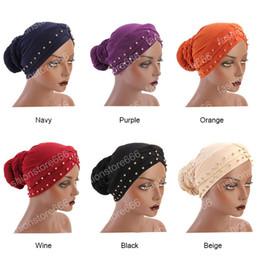 femmina musulmana Sconti Vintage Bandana Sciarpe Musulmano Abbigliamento Turbante musulmano avvolge le donne Pure Color Hijab Trecce Caps Accessori per capelli femminili