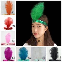 Indiani della fascia online-Paillettes struzzo Piuma Fascia cappello top Costume Fancy Dress Dancing Resina Gemello Hairband Cosplay Indiani Puntelli Accessori per capelli GGA1383