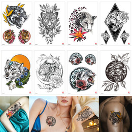 cool paintings Coupons - Leopard Decal Temporary Tattoo Body Art Sticker Animal Fake Black Sexy Cool Waterproof Tattoo Makeup Painting for Male Female Party Beach 3D