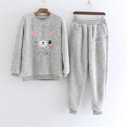 aae4724ab238 Winter verdickt Flanell Bär Pyjama Anzug niedlich grau warm halten  Nachtwäsche Mann und Frauen Vintage Home Kleidung 59wb Ww günstig bär pyjama