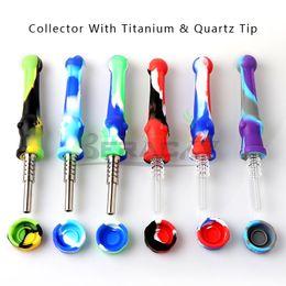 Bongos nectores on-line-Kit de silicone Nectar Collector com dicas Quartz / titânio 14 milímetros de silicone Nector Collector Kit Mini NC Tool fumar para Bongos água Vidro Rigs