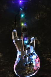 Acryl körper gitarren online-Starshine 5 Saiten E-Bass CC-LDB10 Bunter Blitz Led Licht Bass Gitarre Acryl Körper