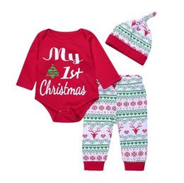 8337d522005c4 Mon premier Noël 3PCS Mignon Bébé Garçons Filles De Noël Barboteuse Rouge  Tops À Manches Longues Pantalon Legging Chapeau Outfit Vêtements Ensembles  Vente ...
