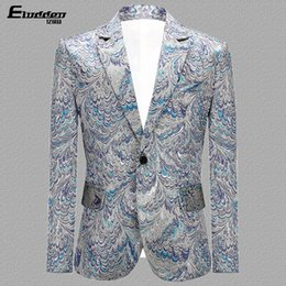 blazers patterns Coupons - Peacock Feather Pattern Fashion Casual Male Party Dress Suits Slim Fit Single Button Men's Novel Cocktali Banquet Blazer Coats