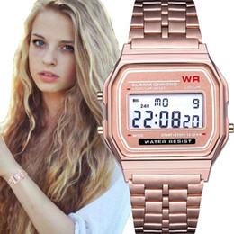 Moda F-91 WR Mujer Hombre Reloj LED Ultra-delgado Oro Plata Pulsera Led Relojes Deportivos Multifunción Metal Reloj Electrónico desde fabricantes