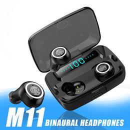 Banco de potencia digital led online-M11 TWS inalámbrica Bluetooth V5.0 auriculares a prueba de agua IPX7 auriculares banco de la energía 3600mAh con el indicador digital del LED HD binaural de llamadas para iPhone 11