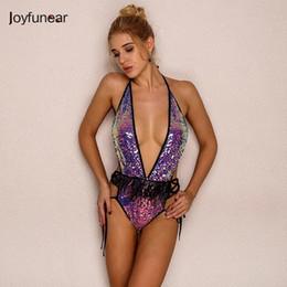 2020 vestiti di bagno sexy del sequin Joyfunear Summer Sexy Pagliaccetti Womens Jumpsuit 2019 Moda Elegent Feathers Bodycon Paillettes Body Beach Costume da bagno Costume da bagno Y190502 vestiti di bagno sexy del sequin economici
