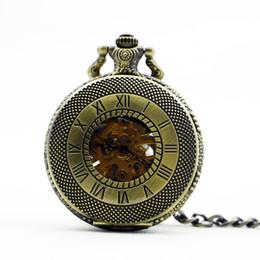 Лучшие часы механического скелета онлайн-Лучший Брозне прозрачный механизм скелет механические автоматические карманные часы ретро кулон Fob часы PJX1103