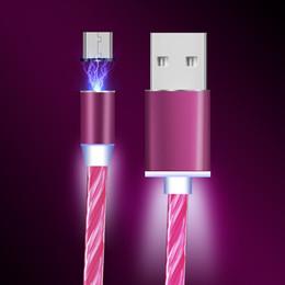 che scorre il cavo usb Sconti 3 in 1 LED che scorre Micro USB carica magnetica Micro USB tipo C cavo per iPhone Samsung Xiaomi Huawei USB flusso luminoso veloce cavo di ricarica