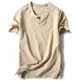 pantaloncini bianchi bianchi per gli uomini Sconti Camicie uomo di marca con manica corta in lino cotone Camicie casual Maschile bianco Tee Masculina Top Harajuku Abbigliamento uomo solido