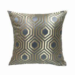 Almofadas verificadas on-line-Moda Brilhante Check Bege Cinza Azul Geometria Interior Decorativa Fronha Piso Quadrado Sofá Cadeira Casa Deco Cama Capa de Almofada 45x45 cm