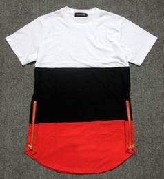 preto do estilo dos homens camiseta Desconto 2017 estilo do verão dos homens t camisas branco preto vermelho patchwork ouro lado zíper dos ganhos streetwear hip hop camisetas estendidas tees