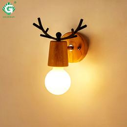 vintage western beleuchtung Rabatt Hölzerne Wandlampen-Wandlampen-E27-Birnen-Nacht-Retro- Weinlese-industrielle Nachttischlampen-Innen-hölzerne hinunter Schlafzimmer-Treppen-Beleuchtung