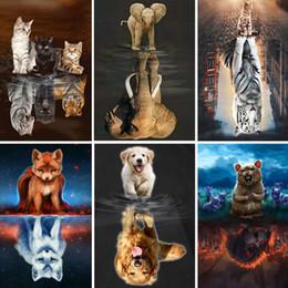 pinturas de phoenix Desconto 5d diy diamante pintura reflexão animal quadrado cheio pintura diamant cão / gato / raposa diamante bordado hamster home decor art x40