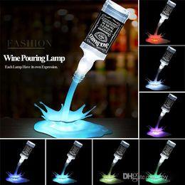 lámpara led led usb Rebajas La novedad Vierta la lámpara LED Luz de Noche Vino Vertido Vino 3D Recargable Interruptor táctil USB Fantasía Botella de Vino Decoración Bar Fiesta Lámpara