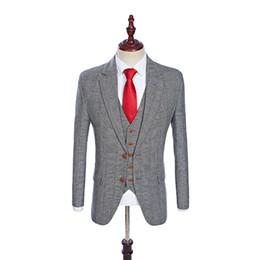 722529ef9c921 2019 trajes de lana gris Lana gris Tweed hombres por encargo para hombre  traje de 3