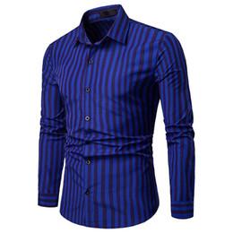 Langarmhemd Herrenhemden Gestreifter Druckknopfmannhemd T-Shirt Bluse Vintage Tops Herrenkleidung camisa masculina von Fabrikanten