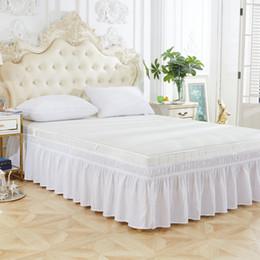 2019 cobertor de coberta contornado Vender casa fiação cama saia saia de cama elástica de cor pura, adequado para uso doméstico, impressão a cores pura e tingimento simples e bonita