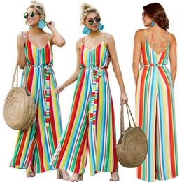 rompers all'ingrosso dell'uncinetto Sconti Tute estive da donna Un pezzo colorato pantaloni a righe arcobaleno a coste Spaghetti pagliaccetti Sash Tuta