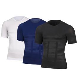 Camicia maschile dimagrante online-Mens che dimagrisce la maglia di postura di modellatura per la compressione del corpo di compressione del corpo della bruciatura del busto grasso corporeo del petto della bruciatura