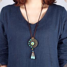Colares artesanais originais on-line-Design original vintage colar boêmio, exagerar pedras jóias étnicas, handmade trançado camisola longa colar verde