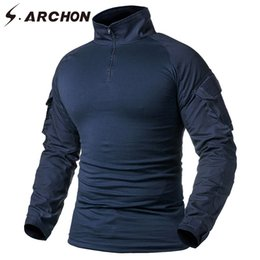 paintball tactical Coupons - S.ARCHON Tactical Long Sleeve T Shirt Men Navy Blue Solid Camouflage Army Combat Shirt Paintball Clothes