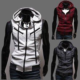 Chaleco gris con capucha de algodón online-Nueva alta calidad de algodón de los hombres de diseño de moda traje chaleco / gris negro de gama alta de negocios de los hombres casuales chalecos con capucha Dropshipping