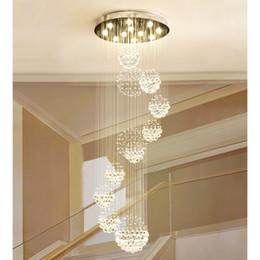 Moderno apparecchio per controsoffitto online-Lampadario moderno goccia goccia grande lampada di cristallo con 11 sfera di cristallo plafoniera 13 luci scale a soffitto GU10