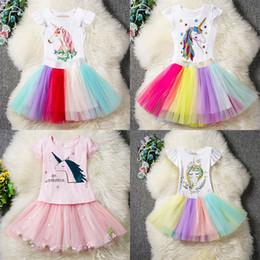 vestito boutique 4t Sconti Neonate abiti unicorno vestito bambini top + TuTu arcobaleno gonne 2 pz / set del fumetto 2019 boutique di moda per bambini Set di abbigliamento 6 stili C6054