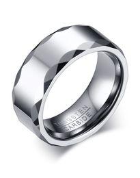 Argentina Grabado gratuito de 8 mm de alto anillo de boda para hombre de carburo de tungsteno pulido con borde facetado K3749 Suministro