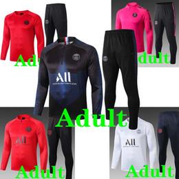 Футбольные куртки онлайн-PSG Tracksuits футбол куртка 19 20 Таиланд верхнего качества LUCAS красный розовый белый полный футбол обучающих наборов костюм куртка мужчины 2019 2020 фор