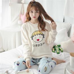Pijamas mulheres bonitos on-line-2018 Inverno Grosso Quente Flanela Conjuntos de Pijama para As Mulheres de Manga Longa Coral De Veludo Pijama Meninas Bonito Dos Desenhos Animados Pijamas Pijama Mujer