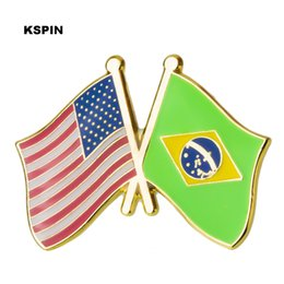 for brazil Coupons - U.S.A Brazil Friendship Flag Metal Pin Badges Decorative Brooch Pins for Clothes XY0292