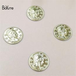 camafeu de latão Desconto BoYuTe atacado (500 peças / lote) 4 cores 10 mm de metal bronze rodada cabeça cameo pulseira encantos diy