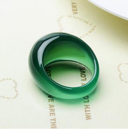 Grüner rubinring online-echte grüne Achat Kristall Chalzedon Ring tail Jade Ring Ringe Männer Frauen Schmuck Glücksstein Jade Finger Marke Edelstein Rubin