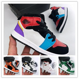 2019 Kids Basketball Shoes 1 High OG Cactus Jack 1S Sneakers Sports Trainer Baby Toddler Running sports Children sneakers 26 35