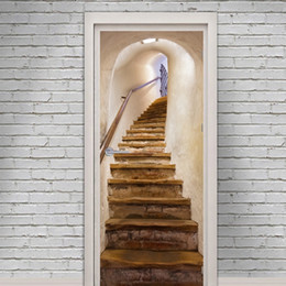 cartoon gift paper Promo Codes - Old stairs door wall Sticker Graphic Unique Mural Cosplay Gifts for living room home decoration Pvc Decal paper WN653