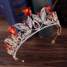 2020 coroa vermelha do ouro Barroco Gold Crown Tiara casamento Crown Princess Rei nupcial Rainha Vermelha Cristal Tiara Noiva jóias cabelo acessórios femininos desconto coroa vermelha do ouro