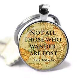 clássicos lembrança presente Desconto Citação não todos aqueles que vagam são perdidos Citação inspirada jóias prata pingente cúpula de vidro chaveiro