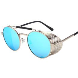 2019 оптовые хиппи-очки Оптовая продажа-Роскошные дизайнерские солнцезащитные очки для женщин мужской бренд мода металлический каркас сторона круглый ретро стимпанк готический хиппи круг ретро очки скидка оптовые хиппи-очки