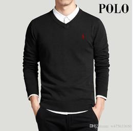 ENVÍO Hombres de golf de primavera suéteres de polo jerseys de estilo Simple de punto con cuello en V suéter jumpers para caballos Delgados géneros de punto bordado desde fabricantes