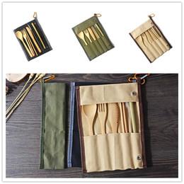 Louça de viagem on-line-7PCS / SET portátil Faqueiro Com Saco Outdoor Viagem Bamboo talheres Set Faca Chopsticks Fork Colher Louça Conjuntos Conjuntos Cozinha Louça