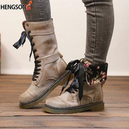 atadura de borracha Desconto Borracha PU Leather Botas Mulheres Meia-perna botas longas Cross-Amarrado sapatos Plus Size 36-43 Bandage Motor Matin Mulheres Botas de Inverno