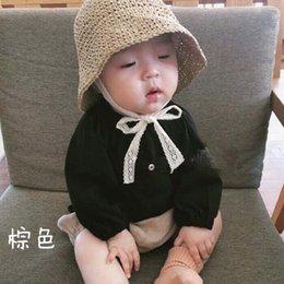 ragazzi crochet cappello da sole Sconti Strap Lace bambini Crochet cappelli di paglia della ragazza del neonato mano Estate pieghevole Sun protezione esterna Holiday Beach Sun Protection