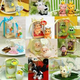 Boîtes d'emballage de bougies en gros en Ligne-12 Style Cartoon Animal Bougie Enfants Enfants Fête D'anniversaire Cadeau En Gros Bougies Parfumées Gâteau Bougies avec Clear Box Paquet