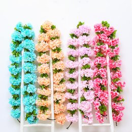 cherry blossom party decorations Promo Codes - Plastic Twining Cane Silk Flower Living Room Artificial Cherry Blossom Air Conditioning Pipeline Decoration Cherries Canes 6 8ll L1
