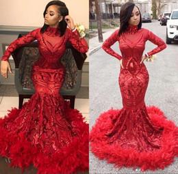 2019 meninas tamanho bling vestido Red sereia africanos Prom Dresses 2019 New Feather manga comprida até o chão lantejoulas alta Neck Black Girls Vestido Pageant Partido Vestidos
